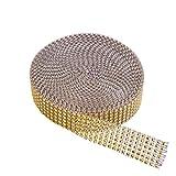 6 Ligne Ruban Strass, KAKOO 9,1m Ruban Diamant Acrylique en Maille Bande Rhinestone Rouleau de Strass Pour Gâteaux de Mariage Décoration de fête DIY Artisanat
