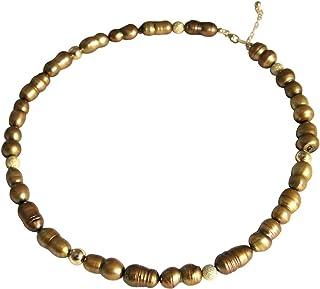 Gemshine, collana da donna in argento Sterling o con perle coltivate in stile barocco. Tahiti bronzo dorato. Realizzato a ...