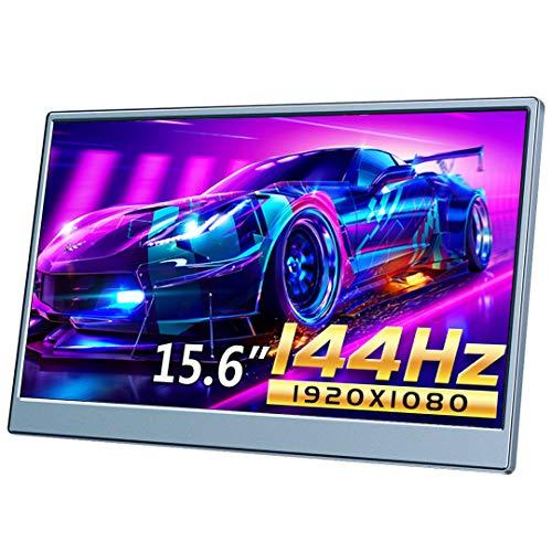 144hz 1MS モバイルモニター 15.6インチ 1080P モバイルディスプレイ ゲーミングモニター 15.6 折畳式 IPSパネル 薄型 FreeSync&G-Sync目に優しい自立式スタンド 標準HDMI/Type-C/DP ゲーミングモニター 3年保証