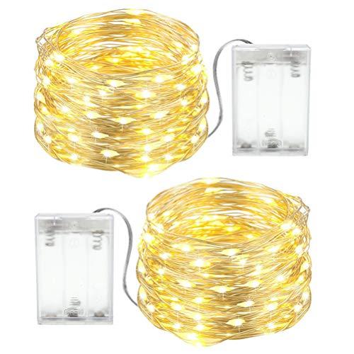Luces Navidad a Pilas, 2 x 4M Cadena de Luces 40 LEDs, Guirnaldas Luminosas LED para Exterior e Interior...