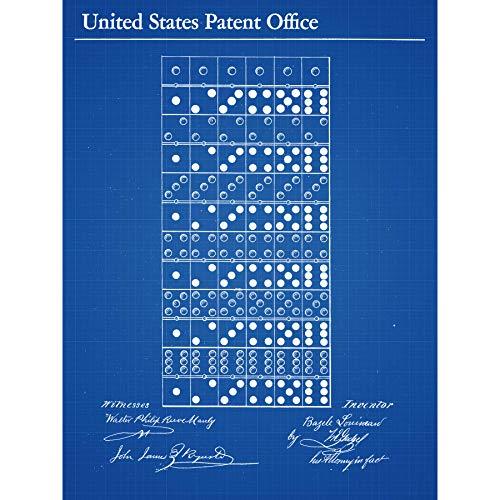 Louineau Dominos spel stukken 1873 patent plan ingelijst muur kunst afdrukken 18X24 In