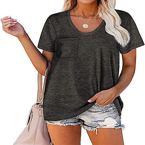 Camiseta de Mujer Tops de Manga Corta Camiseta de Color sólido Camiseta de Cuello Redondo Dobladillo Largo Casual Blusa básica de Verano Color sólido Tops Casuales Largos Tops de Mujer Moda Sl