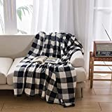 NEWCOSPLAY Buffalo Plaid Throw Blanket Soft Flannel Fleece Checker Pattern Lightweight Decorative Blanket for Bed Couch (280GSM-Black-White, Throw(50'x60'))