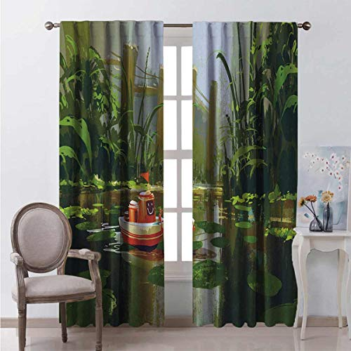 Fantasy Wear-Resistant Color Curtain Toy Boat with Smile Face Robot Sailing on River Forest Cartoon Inspired Kid Friendly Waterproof Fabric W63 x L84 Inch Red Green