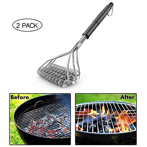 Brosse de Nettoyage pour Barbecue, Brosse de barbecue sans poils - Nettoyant pour grils de barbecue en acier inoxydable à 100% résistant à la rouille - Sécuritaire pour la porcelaine - 2 Pièces