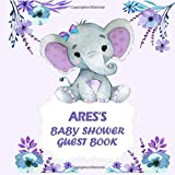 Ares's baby shower guest book : Personalized Name Baby shower Guest Book boy elephant for Ares   Baby Shower Guestbook + BONUS Gift Tracker Log included