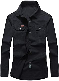 Men's Cotton Shirts Simple T-Shirt Lapel Long Sleeve Tops Workwear Basic Shirt with Breast Pockets Buttons Top
