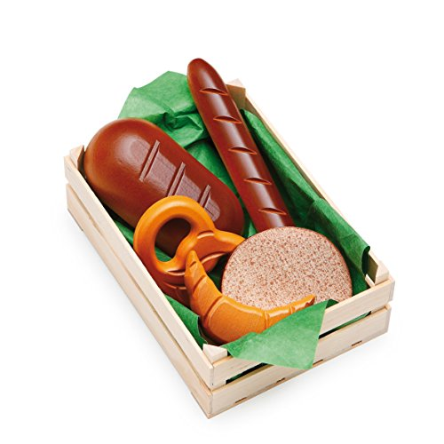 Erzi 28130 Sortiment Backwaren aus Holz, Kaufladenartikel für Kinder, Rollenspiele