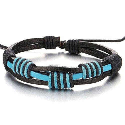 COOLSTEELANDBEYOND Handarbeit Geflochtenem Leder-Armband für Herren für Jungen für Damen, Blau Schwarz Echtes Leder Wickeln Schweißband