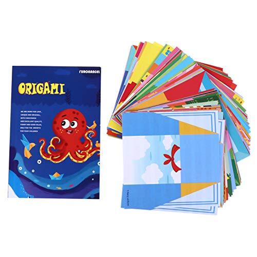 Supvox Papel Plegable Hoja de Origami Papel de Origami para Niños de Colores Proyectos de Origami Libro de Origami Instructivo para Adultos Formación Infantil para Principiantes