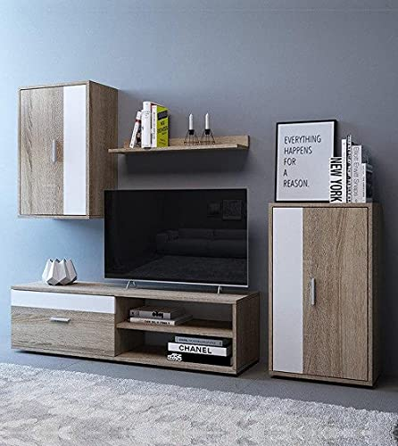 Home Heavenly® - Mueble salón Modular Bosco de 230 cm. Conjunto Completo Mueble TV + 2 vitrinas + Estante (Roble-Blanco)