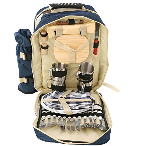 Walmeck- Outdoor 4 Personen Picknick Backapck Rucksack Tragbare Camping BBQ Lunch Bag mit Geschirr Set Picknick Taschen