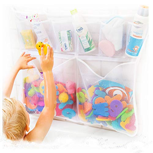 Really Big Tub Cubby Bath Toy Organizer & Ducky - Mesh Net Bag - Baby Bathtub Game Holder - Bathroom Storage & Shower Caddy Suction & Sticker Hooks Toddler Play Tray - Kid Safety Award