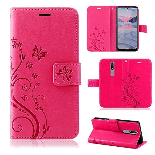 betterfon Nokia 2.4 Hülle - Handyhülle Nokia 2.4 Schutzhülle Klapphülle mit Magnetverschluss/Kartenfächer für Nokia 2.4 Blume Pink