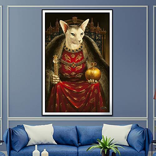 Rahmenlose Malerei Retro-Stil Wohnkultur Tier Poster Druck Nordic Porträt Leinwand Wandkunst DekorationZGQ2802 40X50cm