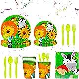 BETOY 112pcs Jungle Animal Party Supplies Vajilla para 16 niños Fiesta de cumpleaños - Accesorios...