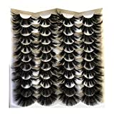 Pooplunch False Eyelashes 25MM Faux Mink Lashes 20 Pairs Pack Fluffy Dramatic Long Thick Fake Eye Lashes Wholesale Bulk