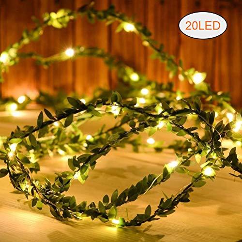 Kylewo slinger met bladeren, werkt op batterijen, LED-lichtsnoeren, koperen kransen, decoratie voor bruiloften in de kamer (2/3/5/10 m)