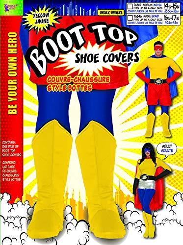 Forum Novelties Adult Hero Costume Boot Tops, -Yellow, Large