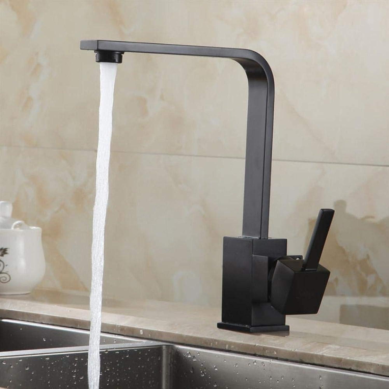 Küchenarmaturen Messing Küchenspüle Wasserhahn 360 Drehen Swivel Wasserhahn Mischer Einzelhalter Einlochmontage Schwarz Mischbatterie