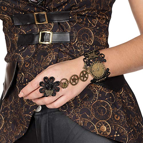 NET TOYS Steampunk-Armband mit verbundenem Ring | Braun-Bronze | Nobeles Damen-Accessoire Cyber Gothic Armschmuck | EIN Highlight für Mottoparty & Themenabend