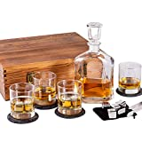 Whiskey Decanter Set in Wooden Gift Box - Includes Decanter, 4 Scotch Glasses, 4 Natural Slate...