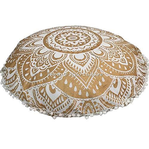 Stylo Culture Decorativo Indio Bohemio Redondo Cojines De Suelo Exterior Impreso Fundas De Almohadas Estampadas Oro 80x80 cm Algodón Floral Mandala Pom Pom Fundas De Colchón