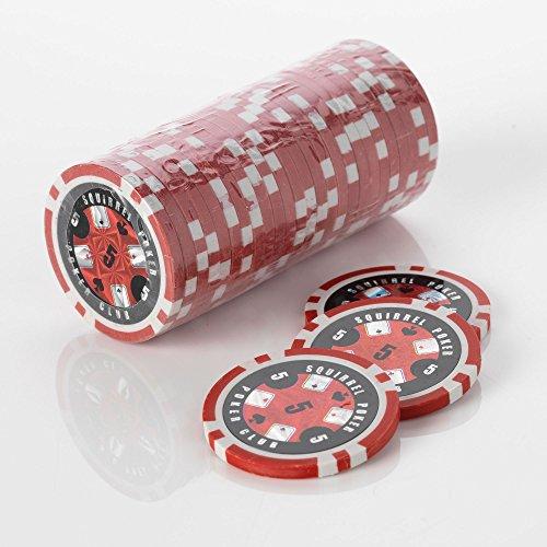 15 g Motif jetons de Poker jeu de Poker Motif écureuil Club 15 g de Poker Couleur : Valeur $rouge = 5
