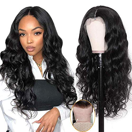 Brazilian Middle Part Lace Front Wig Body Wave Human Hair Wigs for Black Women 100% Unprocessed Brazilian Virgin Human Hair Wigs 150% Density Natural Color(22 inch, T part body wave lace wig)