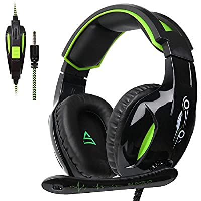 SUPSOO G813 Xbox One PS4 Gaming Headset 3.5mm wired Over-ear Noise Isolating Microphone Volume Control for Mac / PC/ Laptop / PS4/Xbox one - Black