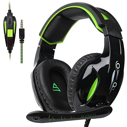 SUPSOO G813 Auriculares para Juegos Xbox One PS4 3.5 mm con Cable Over-Ear Control de Volumen del micrófono con Aislamiento de Ruido para Mac/PC/Laptop / PS4 / Xbox One - Negro