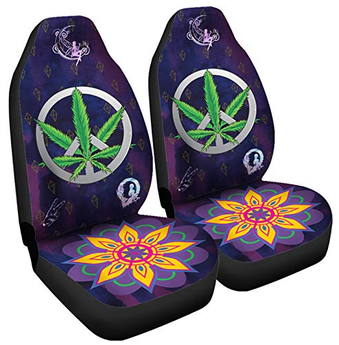 Glorious Deals Hippie Style Car Seat Cover with Marijuana Peace Sign Universal Seat Covers Covers for Car, Vehicle Seat Protectors, Protect Car Seat