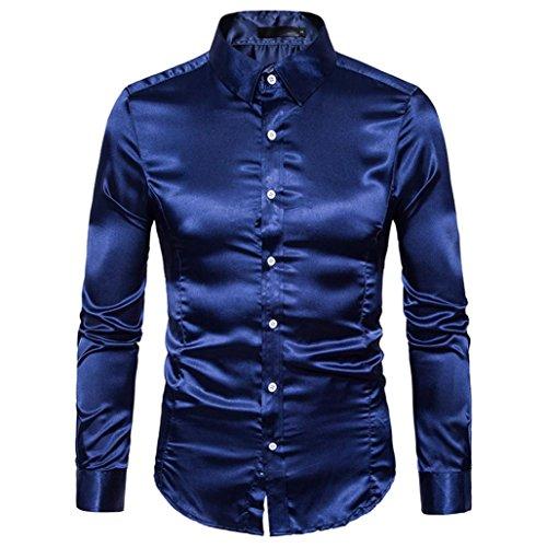 Hemden Herren LUCKYCAT 2018 Neu Fashion Trend Langarm Einfarbig Glänzende Hemden Slim Fit Hemden Modern (Navy, XL)