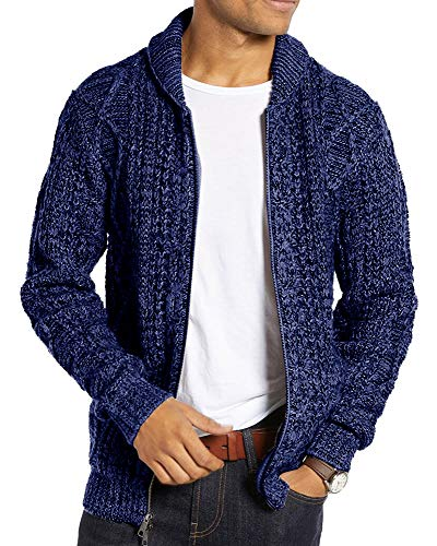 Ryannology Mens Shawl Neck Cardigan Sweater Cable Knit Zip Up Closure with Pockets Winter Jacket Outerwear (X-Large, Navy)