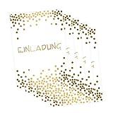 5 edle Klapp-Einladungskarten Punkte Gold inkl. 5 weißen hochwertigen Briefumschlägen