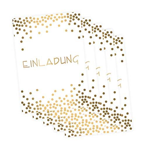 5 edle Klapp-Einladungskarten Punkte Gold inkl. 5 weißen hochwertigen Briefumschlägen - Hochzeit Geburtstag Konfirmation Jubiläum Dots