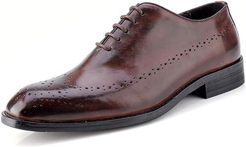 2018 Richelieus Homme, Homme, Homme, Hommes Oxford Oxford Décontracté Décontracté Leather Style Ceinture Brogue Chaussures Homme (Couleur   Marron foncé, Taille   39 EU) 917