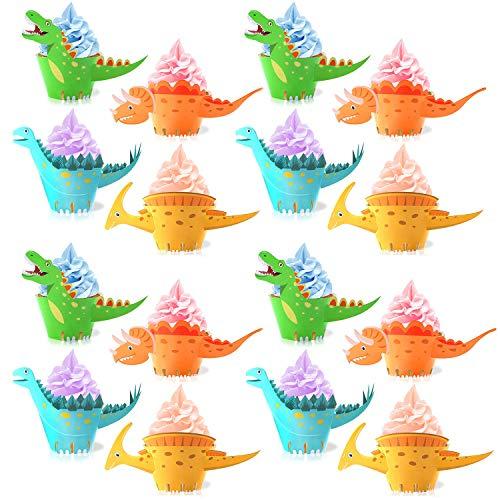 Decorazioni per cupcake a forma di dinosauro, confezione da 48 pezzi, decorazioni per torte e tavoli per feste di compleanno per ragazzi e bambini