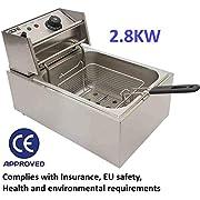 Elektrische Fritteuse, 10 l, 2,8 kW, Edelstahl, Tischplatte zum Mitnehmen, Restaurant, Café, Café