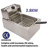 Freidora eléctrica comercial de acero inoxidable, 10 L, 2,8 kW, para llevar restaurante, cafetería, cafetería, cafetería, tienda