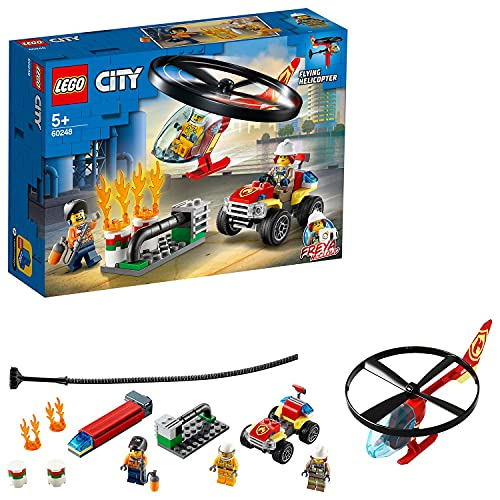 LEGO 60248 City Einsatz mit dem Feuerwehrhubschrauber Spielzeug, Bauset mit Quad und Motorrad