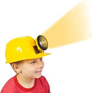 Funny Party Hats Construction Hat - Dress Up for Kids & Adults - Adjustable Miner Hat with Light