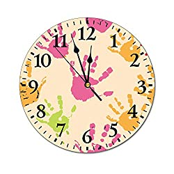 No Branded Fashion PVC Wall Clock Round 9.84 Inch Colorful Art Hand Print Clock Hanging Silent Easy to Read Battery Operated for Bedroom Kitchen Office Living Room Decor