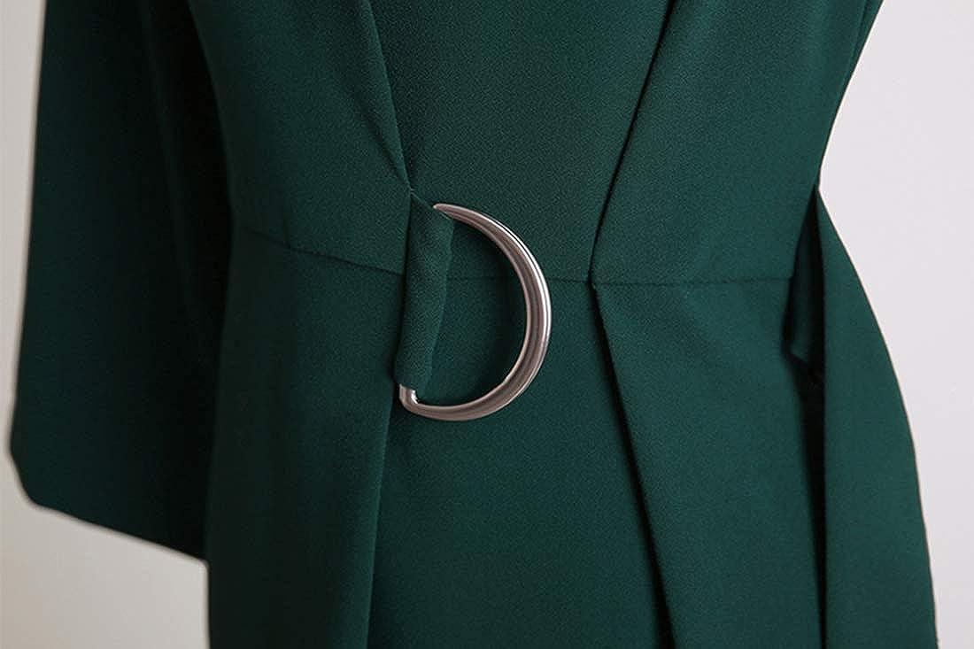 UANEO Women's Crew Neck Slim Classic Casual Work Formal 3/4 Sleeve Belt Dress