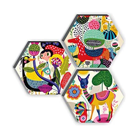 SAF Set of 3 Hexagon Kid's Décor Modern Art UV Textured MDF Home Decorative Gift Item Painting 17 Inch X 17 Inch SANFHX17SMALL