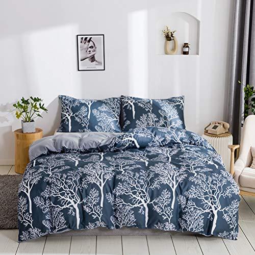 Juego de ropa de cama de 2 piezas con fundas de almohada, funda de edredón hipoalergénica transpirable ligera de poliéster cepillado con cremallera y lazos en las esquinas, color azul marino y blanco
