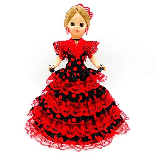 Amazon.es: Folk Artesanía Muñeca Sintra 42 cm Similar Nancy Famosa Vestido típico Andaluza con peineta (Rojo Lunar Negro): Juguetes y juegos