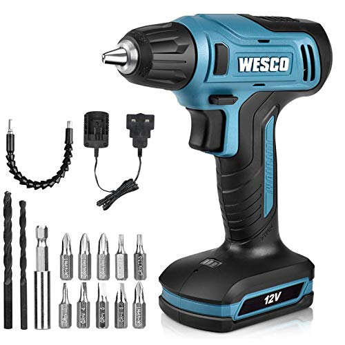 Cordless Drill, WESCO 12V Compact Drill Driver with 13Pcs Bits Kit, Max Drill Steel: 6mm, Wood: 15mm, Variable Speed 0-850RPM, 10mm Chuck, with Flexible Shaft, Charger and Storage Case