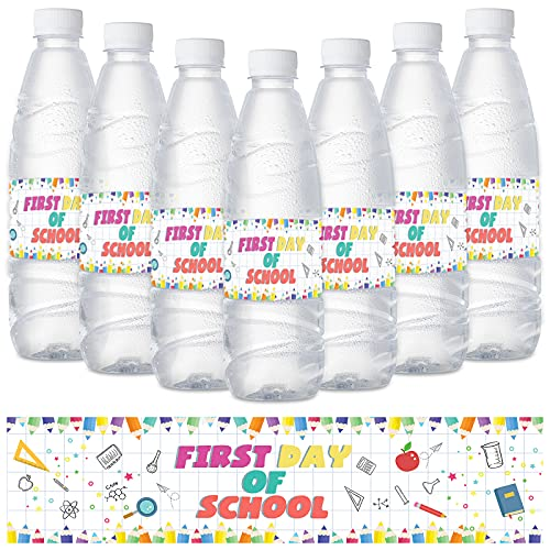 Back to School Water Bottle Labels 24PCS First Day of School Decorations Stickers 2021 Party Supplies for Elementary School,High School,College Classroom Decor (White)
