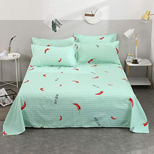 Claean-Acces-Home Cover Protector Matresss Cartoon Sheet Sheet Piece New Simple Twill Sheets Are Single Single Double Dormitory Sheets-Little Pepper-Green_2.0 * 2.3M